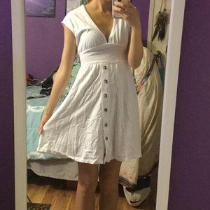 White Button Down Tie Back Dress
